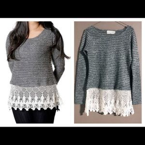 A'REVE Gray Textured Lace Hem Scoop Neck Sweater